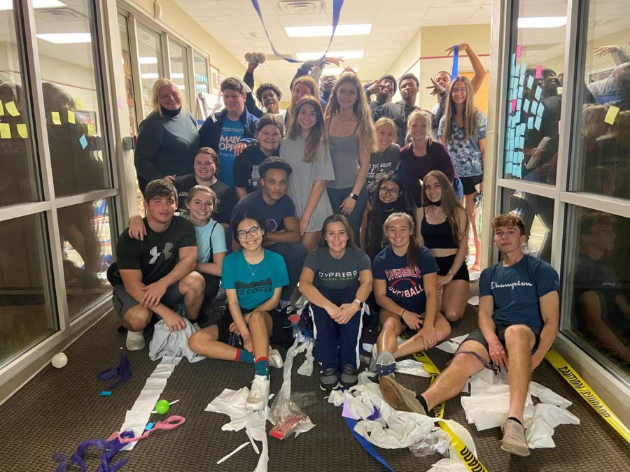 Members of the Class of 2021 redecorated the halls and classrooms at RA Thursday night in the annual Senior Prank for Homecoming Week.