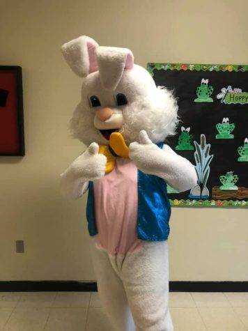 The Easter Bunny gives a thumbs up after his visit to RA.