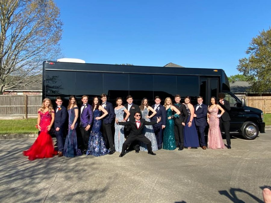 A large group of students rented a party bus for the dance.