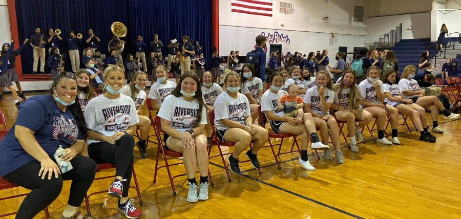 The RA softball team was recognized at Thursday's pep rally before their road trip to Sulphur.