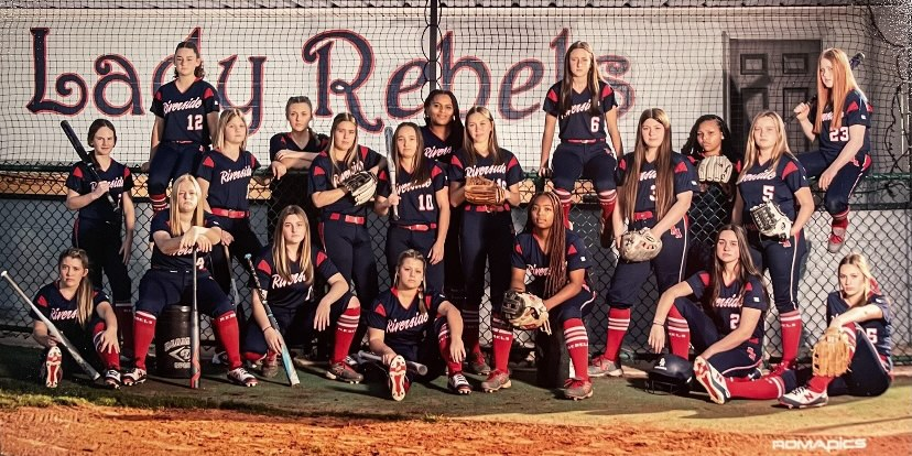 The+2021+District+9-1A+district+champion+Lady+Rebels+softball+team.+