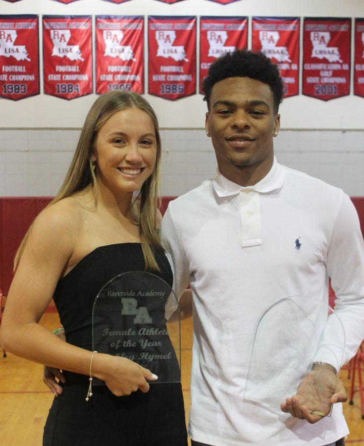 Seniors Ashley Hymel, left, and Gage Larvadain were named Athletes of the Year.